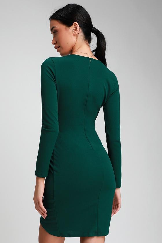 61d72244c069 Sexy Emerald Green Dress - Long Sleeve Dress - Bodycon Dress