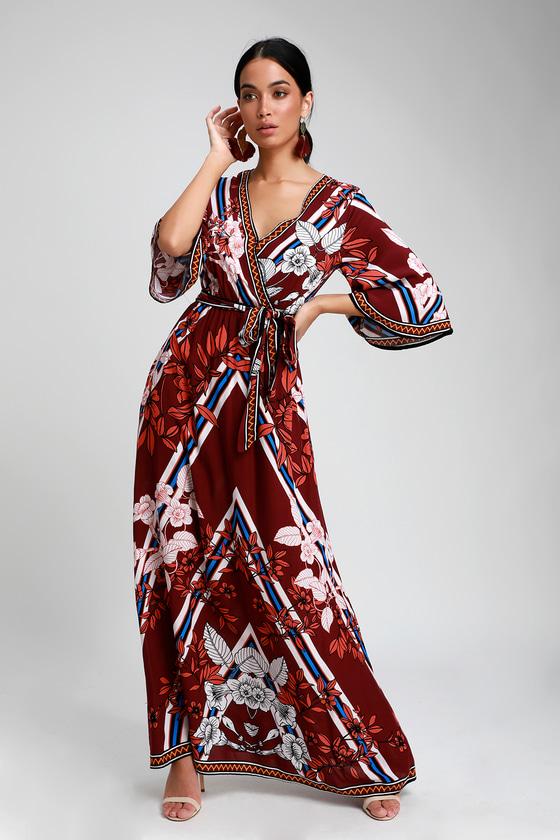 eb992924e0 Cool Burgundy Maxi Dress - Floral Print Maxi - Boho Maxi Dress