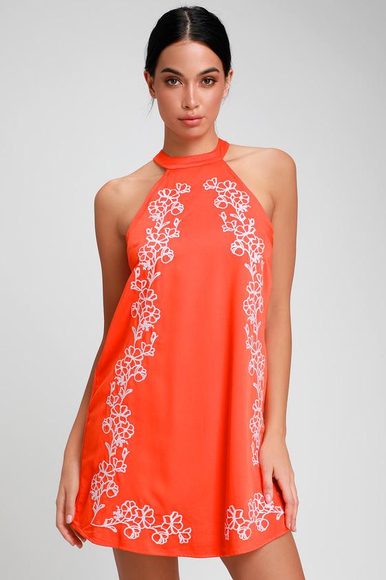 Fabiola Coral Orange Embroidered Halter Shift Dress