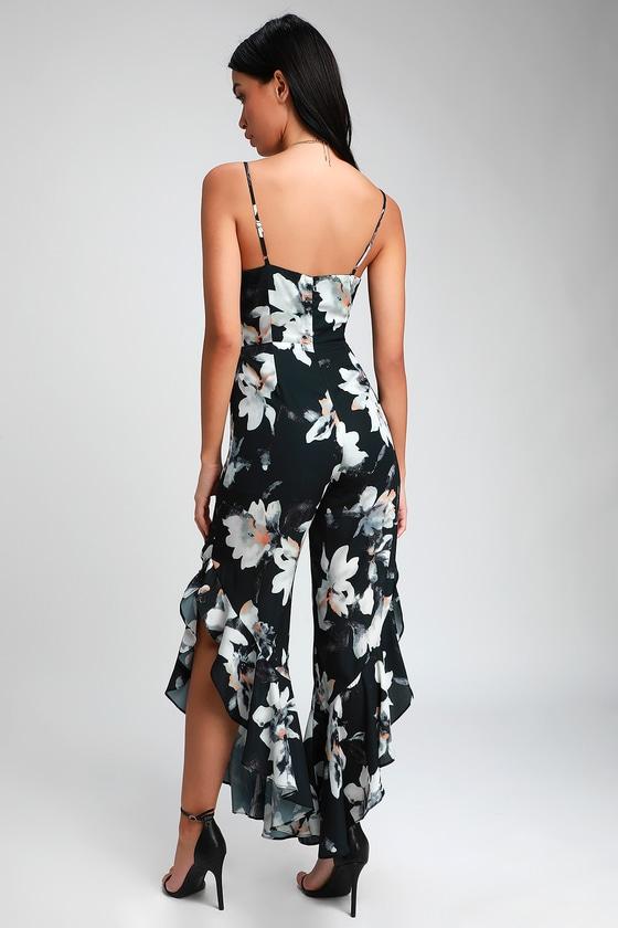 408e007117d Charcoal Grey Jumpsuit - Floral Print Ruffled Jumpsuit - Jumpsuit