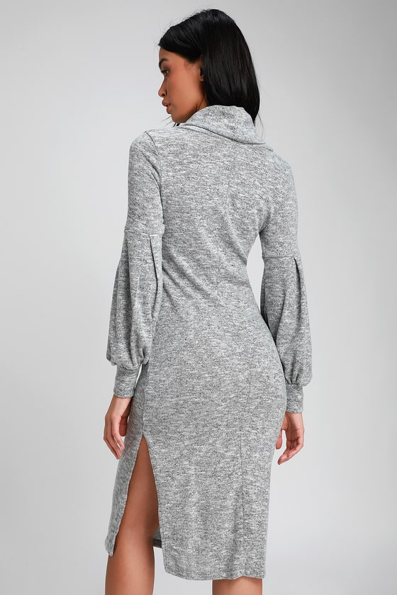 5e7bc6b846 Heathered Grey Midi Dress - Cowl Neck Dress - Midi Sweater Dress
