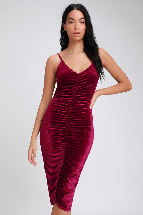 cc5989d3f40 Sexy Wine Red Dress - Velvet Dress - Bodycon Midi Dress - Dress