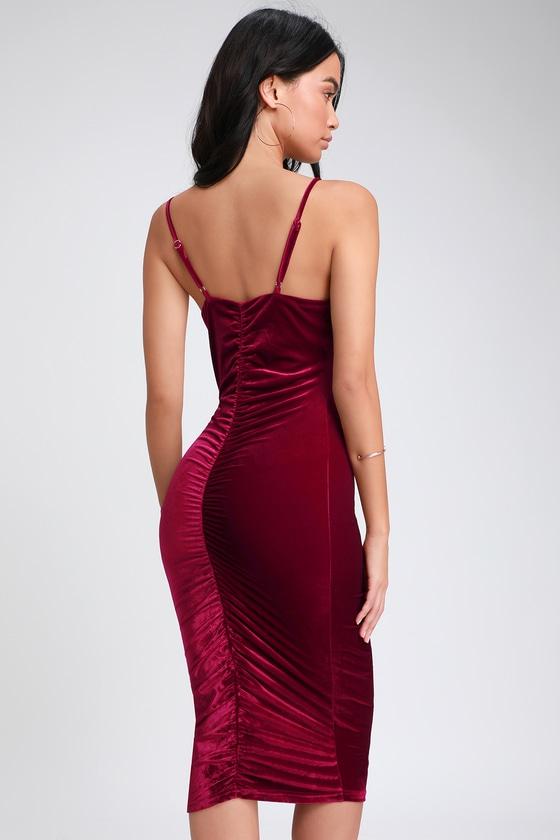 cc5989d3f40 Sexy Wine Red Dress - Velvet Dress - Bodycon Midi Dress - Dress