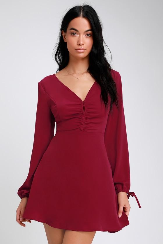 Cute Wine Red Skater Dress - Skater Dress - Long Sleeve Dress 1b68cb2f39324