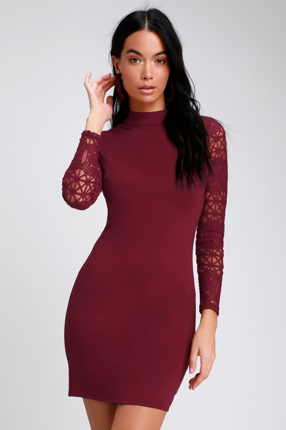 Sexy Burgundy Dress - Lace Long Sleeve Dress - Bodycon Dress 58acc8608a81