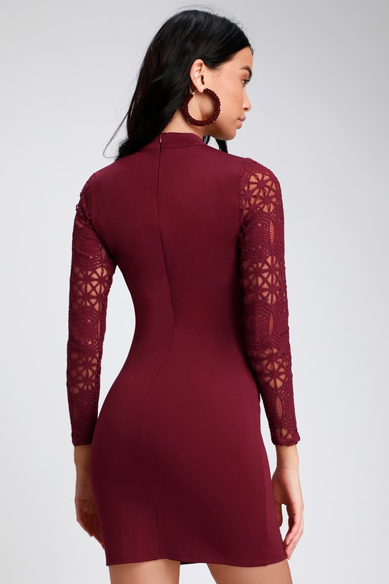d22e1a1bdd Sexy Burgundy Dress - Lace Long Sleeve Dress - Bodycon Dress