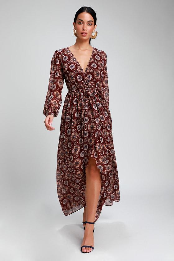 e068f0ac58c0c5 Boho Burgundy Dress - High-Low Dress - Long Sleeve Dress