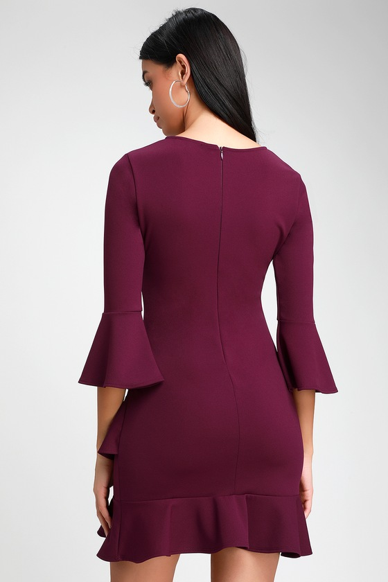 ae6cf047d5e Sexy Purple Dress - Ruffle Dress - Purple Bodycon Dress