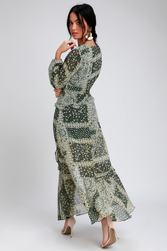 37fb3754f959 Cute Green Dress - Paisley Print Maxi Dress - Long Sleeve Dress