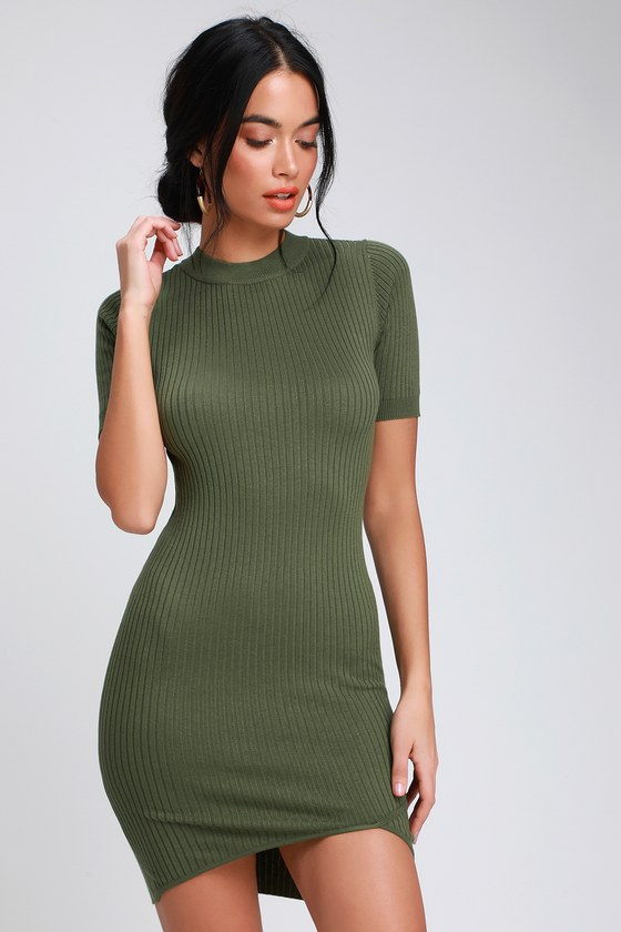 Shanica Olive Green Ribbed Bodycon Mini Dress