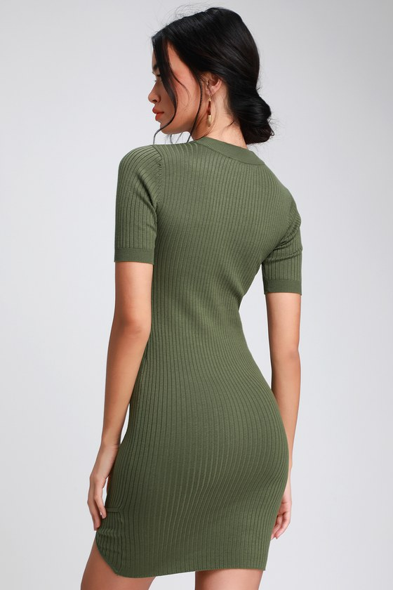 9d3cce579dce Olive Green Dress - Ribbed Bodycon Dress - Bodycon Mini Dress