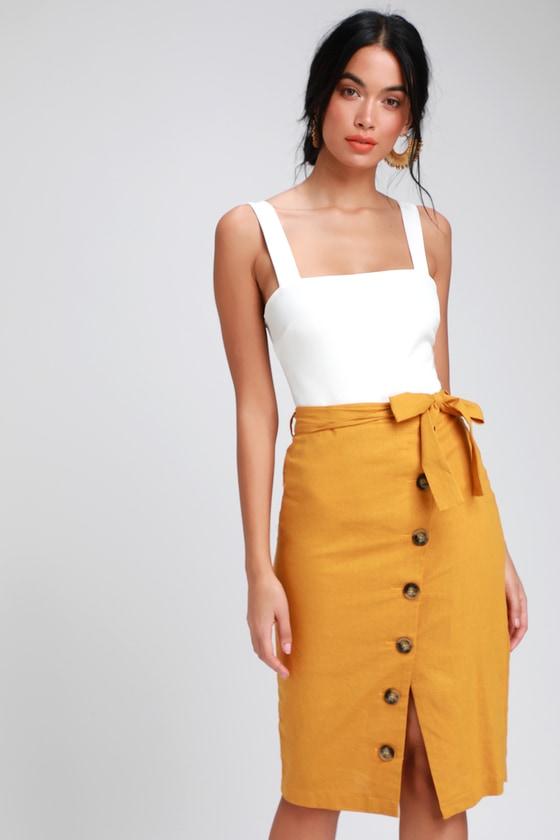 051a08dd0859 LUSH Skirt - Mustard Skirt - Linen Skirt - Button Down Skirt