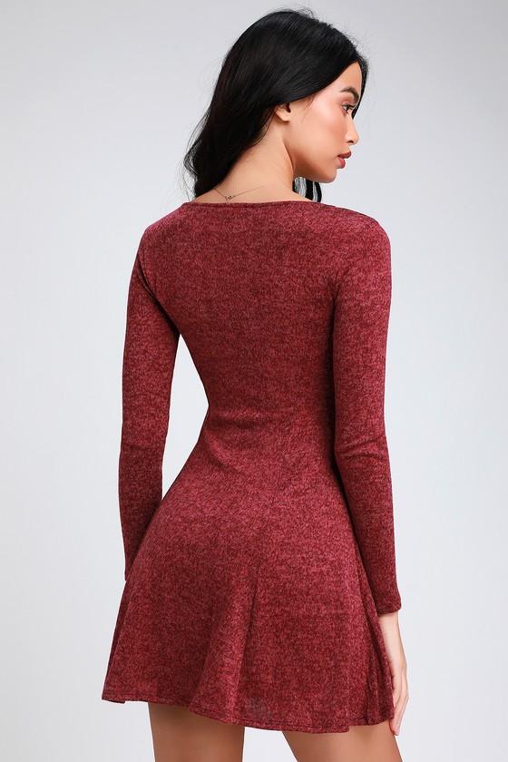 c0b19b80bac0 Cute Skater Dress - Burgundy Skater Dress - Knit Skater Dress