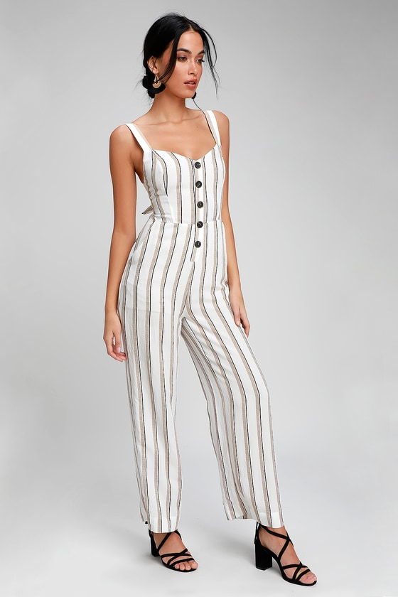 e8a081443ee0 LUSH - White Striped Wide-Leg Jumpsuit - Tie-Back Jumpsuit