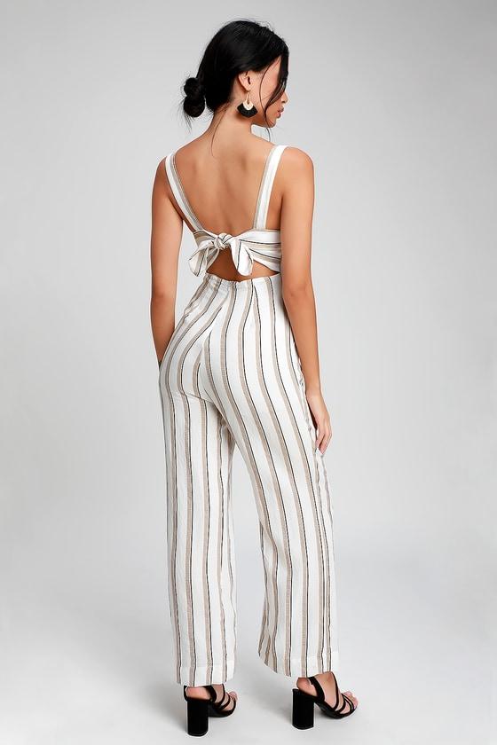 678ef98e733 LUSH - White Striped Wide-Leg Jumpsuit - Tie-Back Jumpsuit