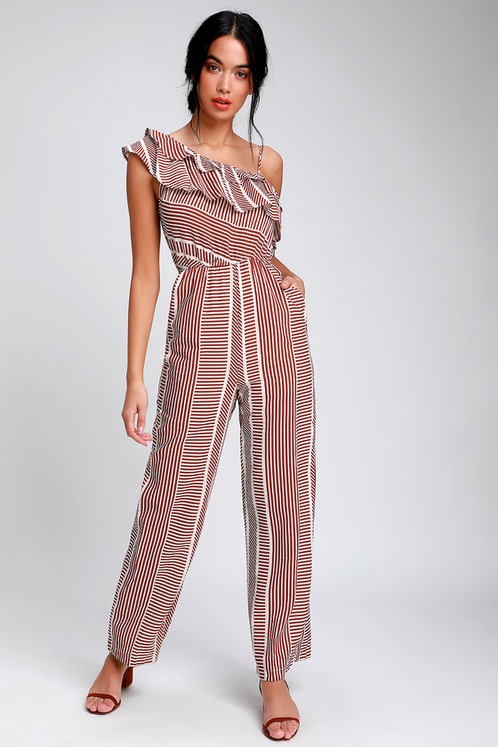 ce9dce56564 Lookin  Good Rusty Red Striped One Shoulder Linen Jumpsuit