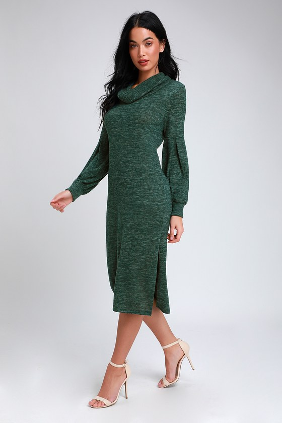 c1d42085cb Heathered Dark Green Midi Dress - Cowl Neck Dress - Sweater Dress
