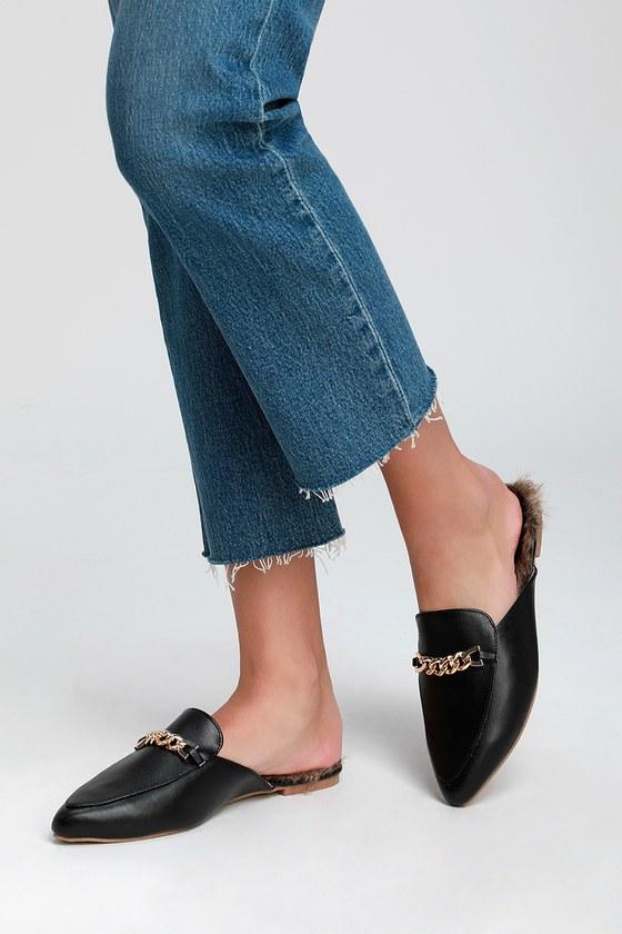 c2e3c6ed233 Lulus Antonia 2 - Black Loafer Slides - Faux Fur Loafer Slides