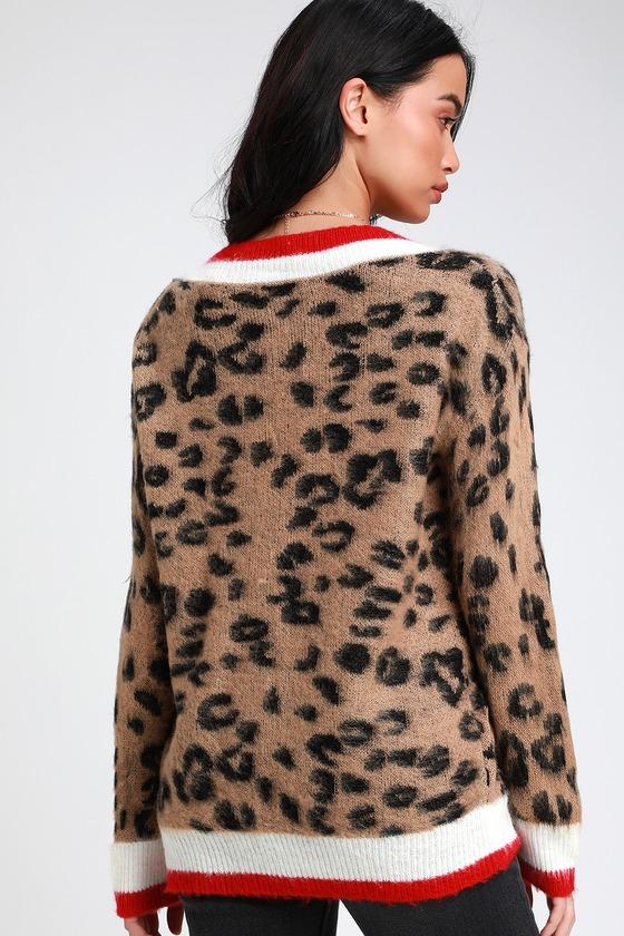 c6c687f6cf88 Chic Leopard Print Varsity Sweater - Leopard V-Neck Sweater