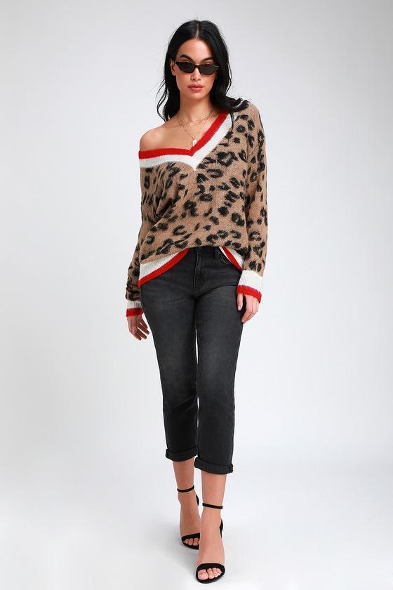 Style Instinct Leopard Print Color Block V-Neck Sweater