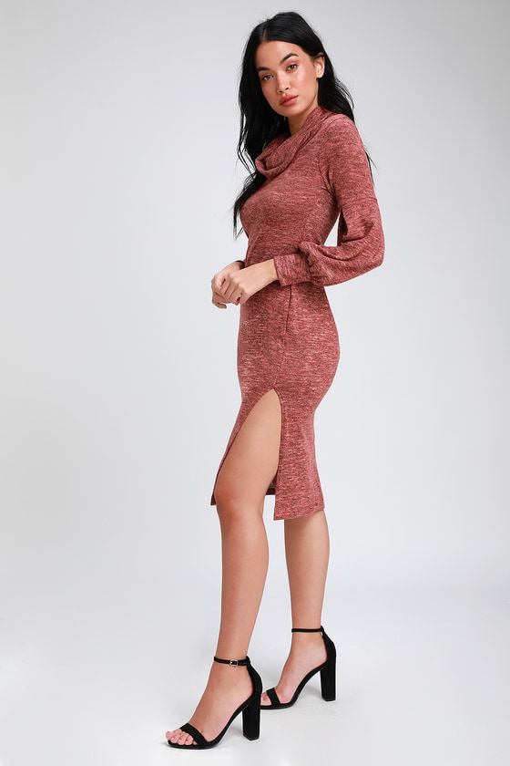 MATTEA HEATHERED RED COWL NECK MIDI SWEATER DRESS
