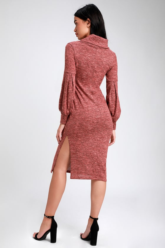 58ecf777b3 Heathered Red Midi Dress - Cowl Neck Dress - Midi Sweater Dress