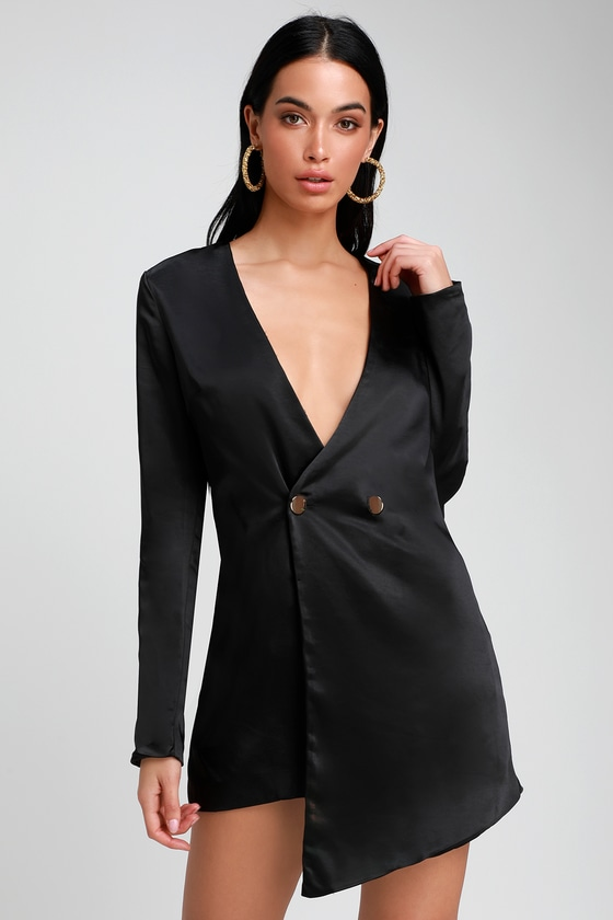 Sleek Surprise Black Satin Double Breasted Blazer Dress by Lulus