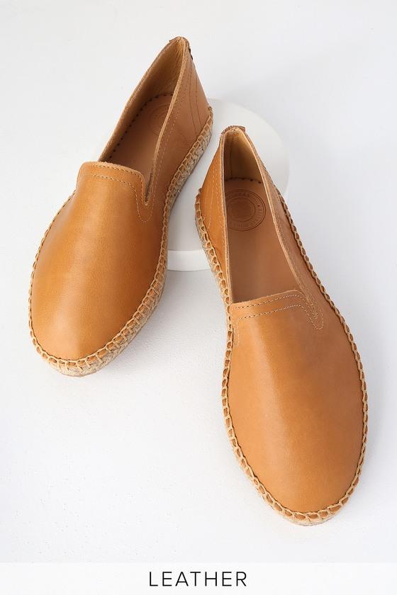ed0ec2f2fe0 Magdalena Camel Leather Espadrille Slip-On Flats