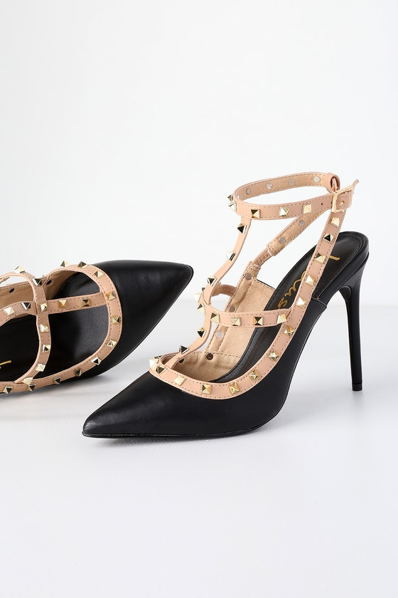 c1b13e7383e2 Chic Black Studded Pumps - Pointed-Toe Pumps - Studded Heels
