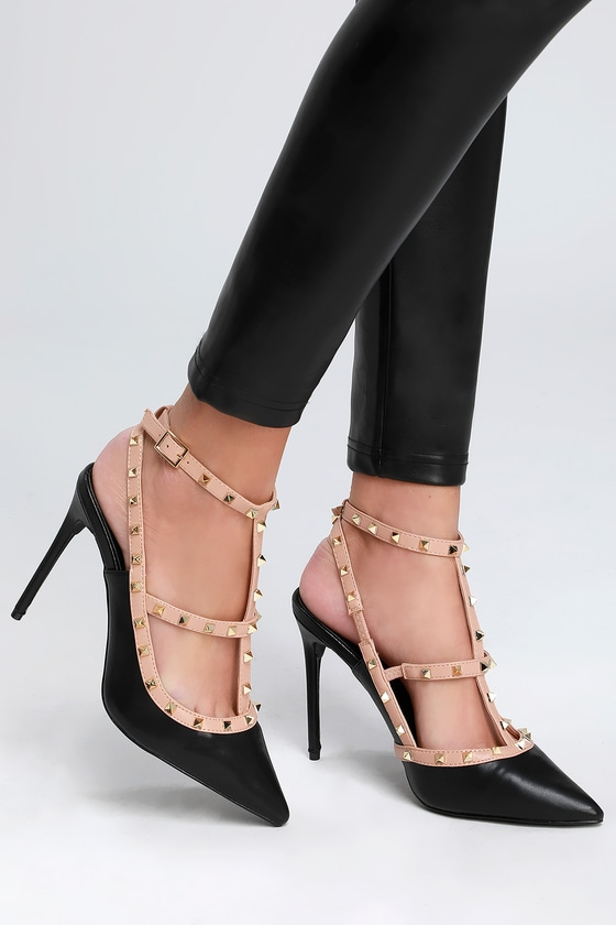 599d852966a Chic Black Studded Pumps - Pointed-Toe Pumps - Studded Heels