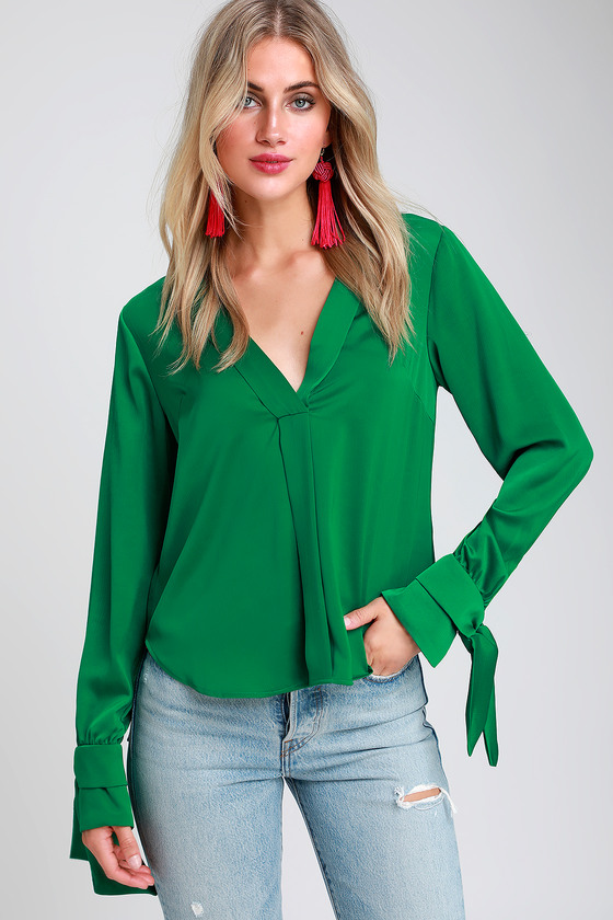 ca298ba56e9780 Cute Satin Top - Green Satin Top - Tie-Sleeve Top - Satin Blouse