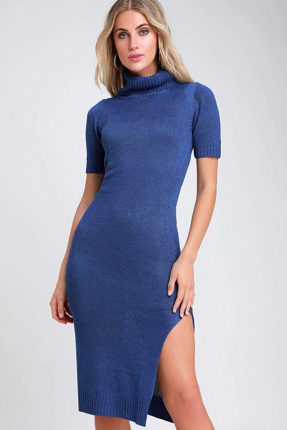Coffee Date Royal Blue Turtleneck Midi Sweater Dress by Lulus