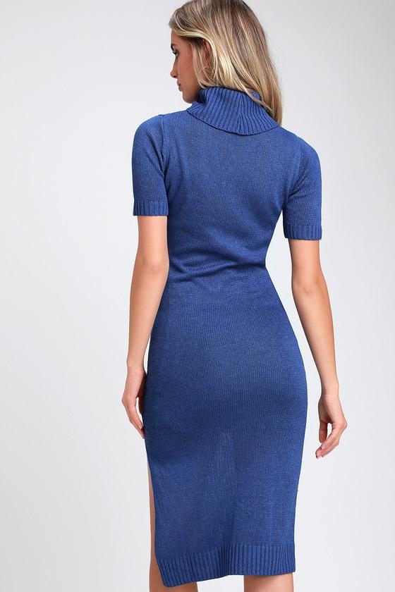 3d23eb490a Cute Royal Blue Dress - Midi Dress - Sweater Dress - Red Dress