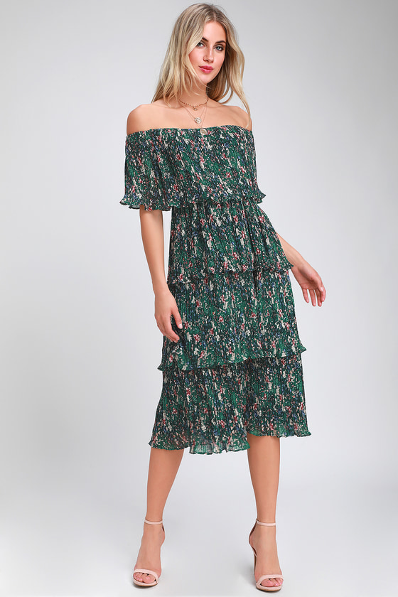 a542f1d55 Chic Green Dress - Midi Dress - OTS Dress - Floral Print Dress
