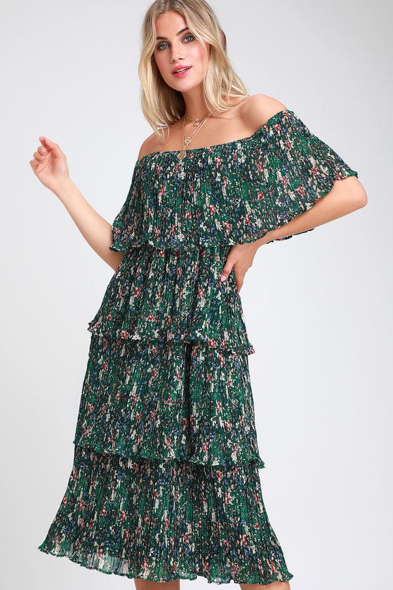 6eb0d7be9c Gala Ready Green Floral Print Off-the-Shoulder Ruffle Midi Dress