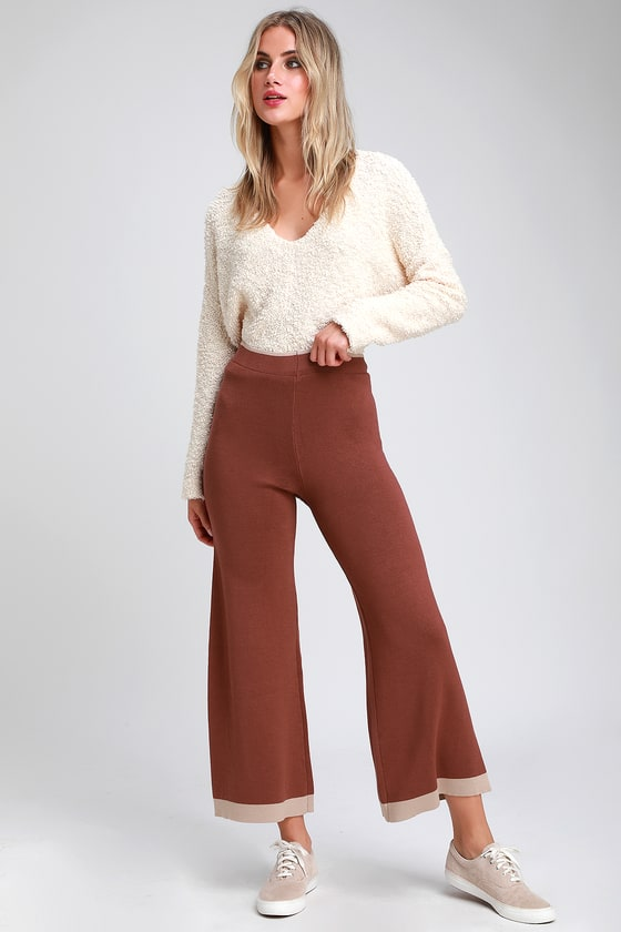 Jetting Off Taupe And Brown Color Block Wide Leg Lounge Pants by Lulus