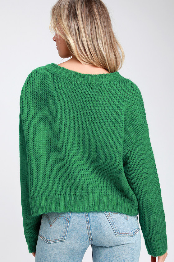 4d7e168701d Cozy Green Sweater - Loose Knit Sweater - Basic Sweater