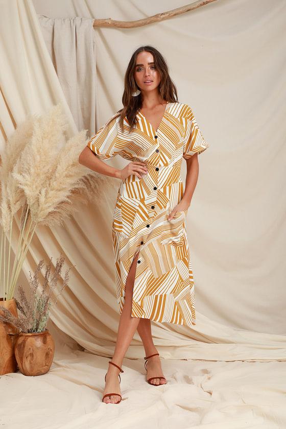 7c962bbd6c7b LUSH - Mustard Yellow Print Dress - Button-Up Dress - Midi Dress