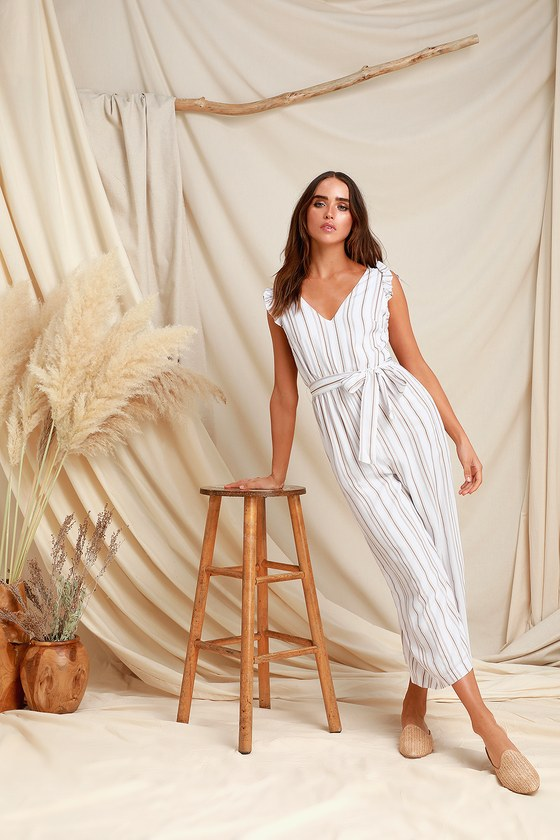 2f694b263cac Cute Striped Jumpsuit - Taupe and White Jumpsuit - Cute Jumpsuit