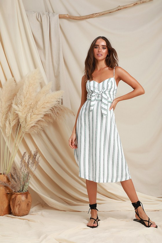 112d6b4a9af5 LUSH - Green and White Striped Midi Dress - Tie-Front Midi Dress