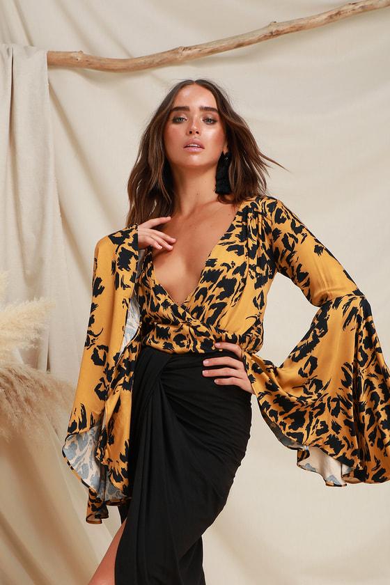 Cute Bodysuit - Leopard Print Bodysuit - Surplice Bodysuit 095ba8a36