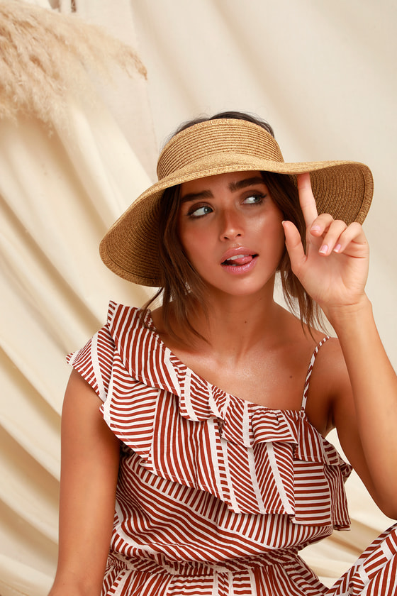 Beige Straw Visor - Sun Hat - Adjustable Visor -  26.00 b4b27db94812