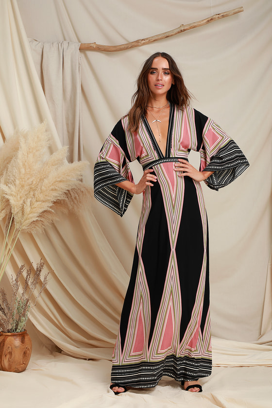 70s Costumes: Disco Costumes, Hippie Outfits Montecito Black Print Maxi Dress - Lulus $64.00 AT vintagedancer.com