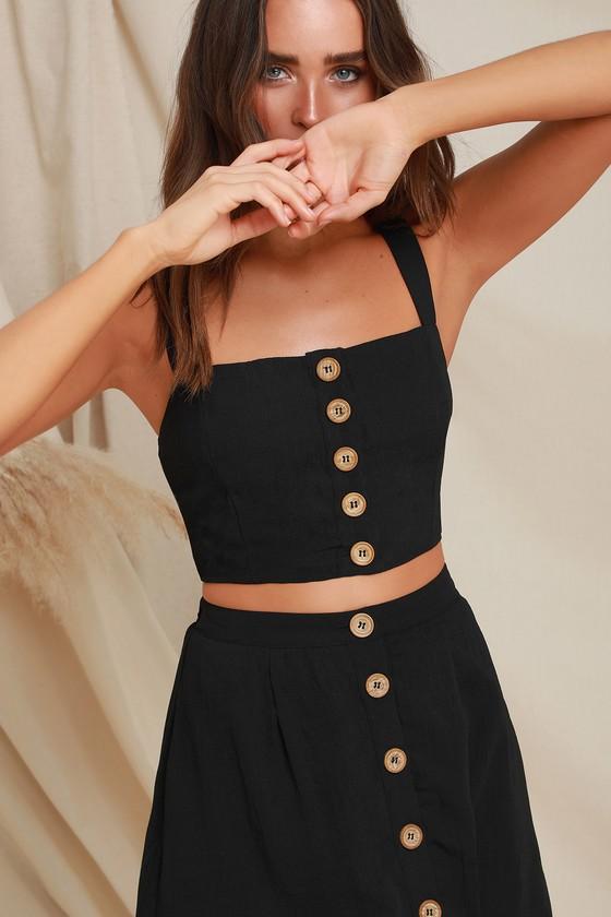 Cute Black Two Piece Dress Two Piece Midi Dress Lulus