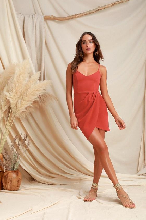 2ce23961769 Sexy Rust Red Dress - Bodycon Dress - Wrap Dress
