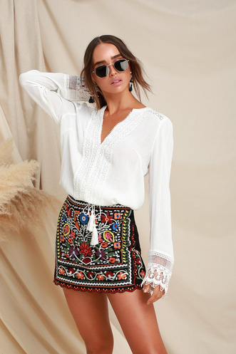 7d680603c39ffa Don t Stop the Party Black Embroidered Mini Skirt