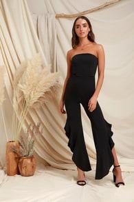 e44d4ba780aa1 Chic Black Jumpsuit - Backless Jumpsuit - Wide-Leg Jumpsuit