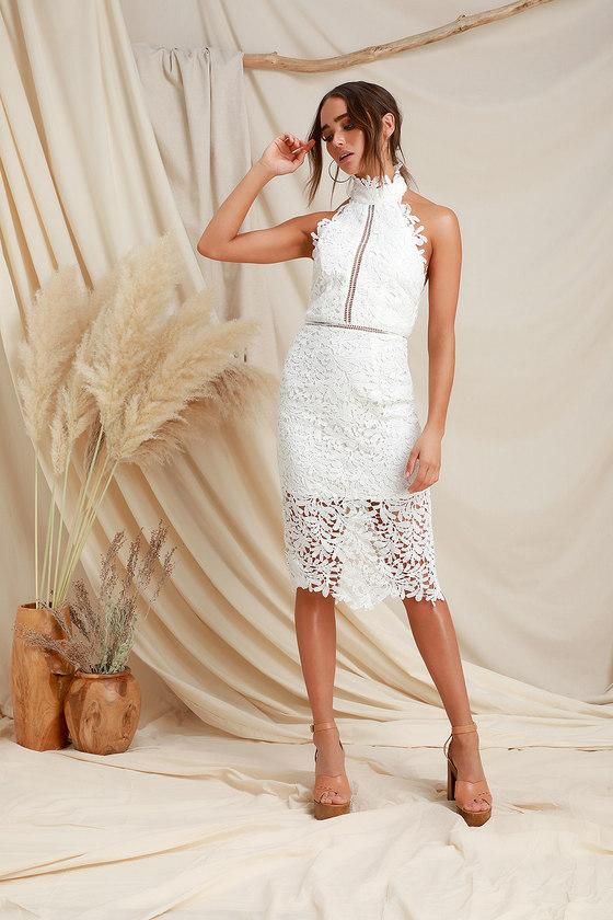 4204c7357c899 Stunning White Lace Dress - Midi Dress - Lace Halter Dress