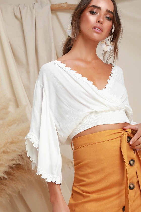 275825f195c2e6 Chic White Top - Lace Top - Surplice Top - Crop TOp