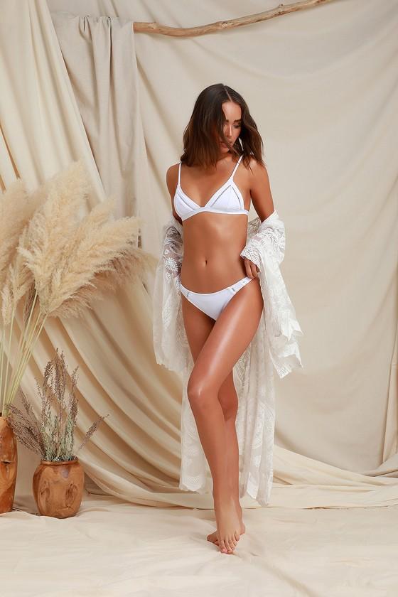 b151534cb7 Rhythm My Bralette - White Bikini Top - Embroidered Bikini Top